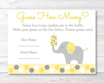 Elephant Guess How Many Game / Elephant Baby Shower / Candy Guessing Game / Yellow & Grey / Printable INSTANT DOWNLOAD A289