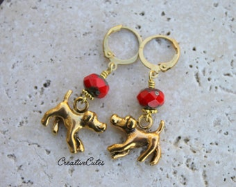 Unique Dog Earring Dangles with Gold Plated Dog Charms, Chili Red Czech Glass Beads & Round Lever Back Ear Wires, Perfect for the Dog Lover!