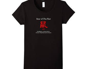 Year of The Rat Chinese Zodiac T-Shirt born in 1924, 1936, 1948, 1960, 1972, 1984, 1996, 2008, 2020.