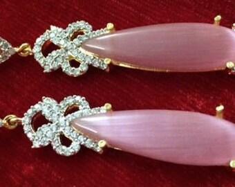 CLEARANCE earrings golden indian Chandelier earrings Dangle earrings Swarovski rhinestones earrings  Drop earrings estate style jewelry