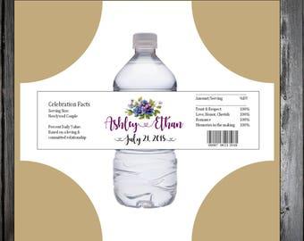 100 Pansies Flowers water bottle labels - Wedding favors