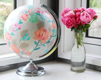 Hand Painted Peach and Silver Floral Globe Upcycled  - World Globe Spinning Vintage Floral Pattern Home Decor, Gift for her, wedding decor