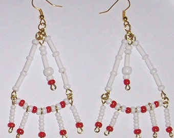 RED WHITE GLASS  chandelier earrings dangle
