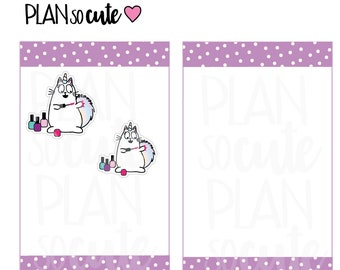 Nail Polish Planner Stickers, Make Nails Stickers, Caticorn Stickers -021