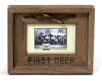 "Barn Wood Rustic Picture Frame First Deer 4"" x 6"""