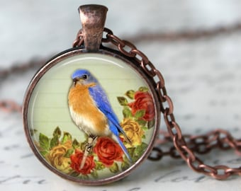 Little Blue Bird Pendant, Necklace or Key Chain - Choice of 4 Colors - 1 Inch Round