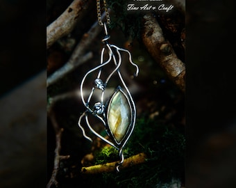 From Woodland Halls - sterling silver talisman with Labradorite, celtic jewelry, elven jewelry, woodland jewelry, mirkwood, pagan jewelry