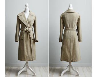 Long Wool Coat women, Camel Wool Coat, Wool Wrap Coat