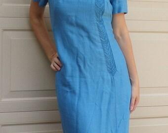 AQUA BLUE Mendel 1960's DRESS 60's vintage sheath shift M