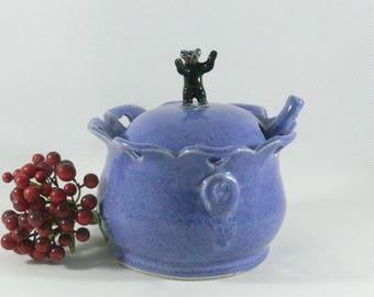 Salt Cellar Tea Canister Ceramic Sugar Bowl Spoon Lidded Sugar Jar Honey Pot Ceramic Bear Kitchen Decor Cabin Decor 9th Anniversary Gift