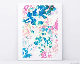 Flower Storm, watercolor painting, bright floral, abstract painting, watercolor abstract, blue abstract print, watercolor abstract art