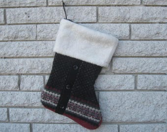 Christmas Stocking upcycled wool sweater Wool Christmas Stocking