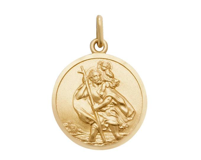 9ct Yellow Gold Round St Christopher Medallion Charm Pendants