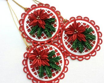 Set of 6 Christmas tags/Handmade/Quilling/Greeting card/Seasonal tags/Poinsettia