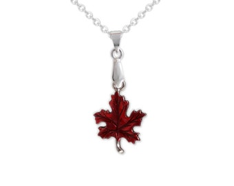 Crimson Red Maple Leaf Petite Drop Pendant Cable Chain Necklace in Silver Tone * FREE Shipping in USA *