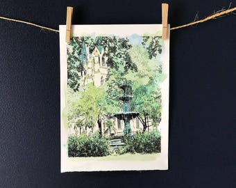Savannah Lafayette Square Fountain -  Watercolor Art Print
