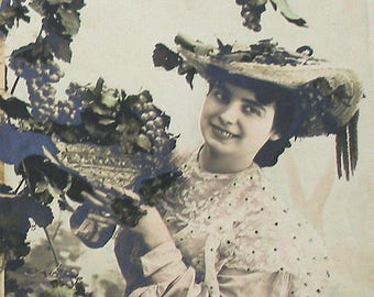 Antique French postcard, Lady with grapes, RPPC real photo postcard, paper ephemera.
