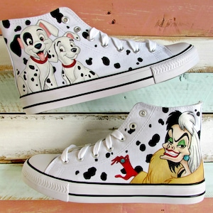 101 Dalmations Cruella DeVille Inspired Hand-Painted Converse Style Shoes  Size UK 7 / EUR