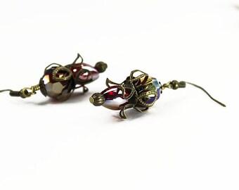 Bridgeport, Vintage Floral Inspired Earrings, Ruby Red Czech Crystal & Brass