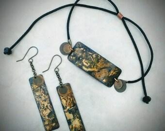 Brass Patina Bracelet & Earrings / Brass Jewelry / Patina / Earrings With Adjustable Bracelet / Fall Jewelry
