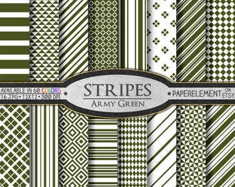Army Green Stripe Digital Background Set - Printable Scrapbook Paper Patterns - Instant Download