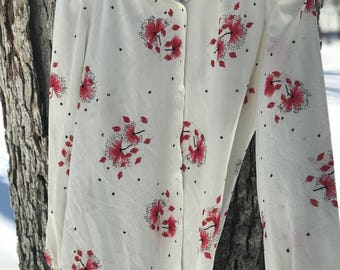 70's floral long sleeved button down