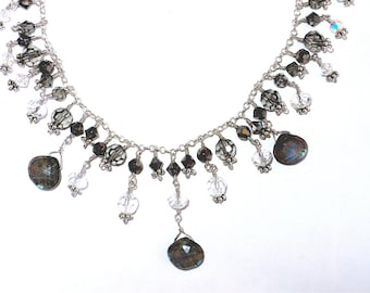 Elegant Labradorite & Swarovski Crystal Bib Necklace