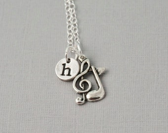 Musical necklace, personalized music necklace, music lover / Musical notes