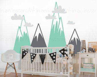 Mountain Wall Decal Etsy - Vinyl wall decals kids