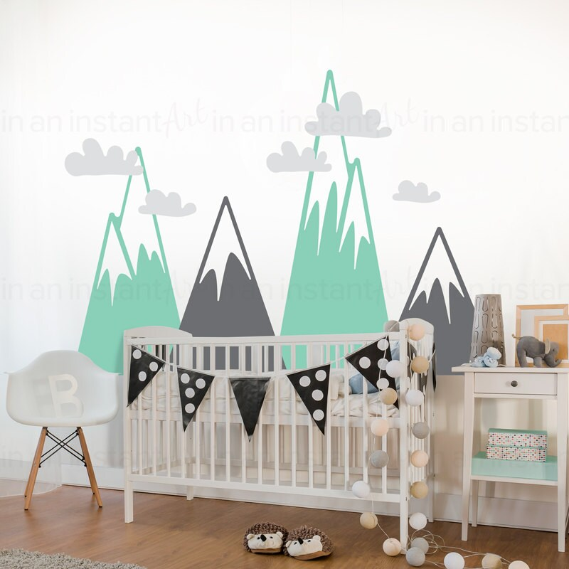 Mountain Wall Decal Woodland Mountain Wall Art Wall