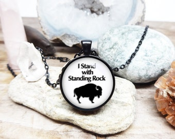 Standing Rock necklace I stand with standing rock jewelry water protector necklace Custom Pendant buffalo necklace native american support