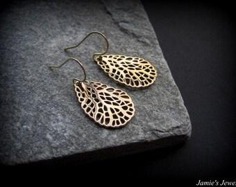 Gold Filigree Earrings - Nautical Gold Earrings - Everyday Gold Earrings - Oval Bronze Earrings - Gold Sea Fan Earrings - Organic Earrings