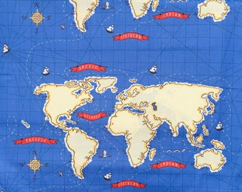 """SALE : Sarah Jane Out to Sea World Map blue fabric 24"""" panel OOP HTF"""