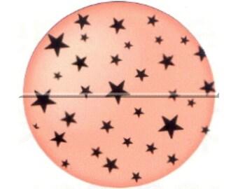 1 cabochon 25mm glass, Celeste, stars