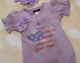Baby Girl Lavender Bubble Romper Baby Girl Romper Set Infant One Piece Set with Rhinestone Star Applique and Matching Headband