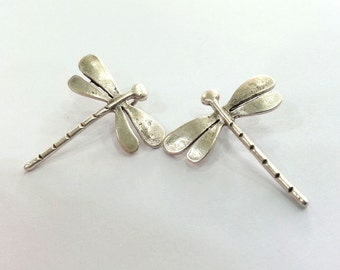 2 Silver Charms Dragonfly Charms Antique Silver Plated Brass  2 Pcs. (28x26 mm)   G2393