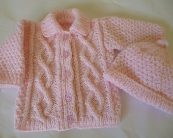 Baby Sweater Set, Baby Girl Sweater, Winter Sweater, Winter Girl Set, Warm and Soft, Warm Baby Set, Sweater and Bonnet, Baby Shower Gift.