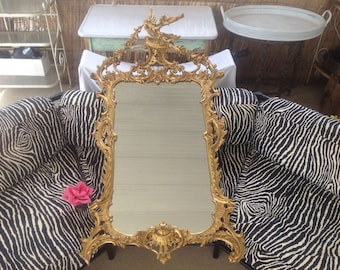 "GILTWOOD CARVED MIRROR / 63"" Tall George lii Style Giltwood Hand Carved Mirror / Phoenix Bird Crest / Chippendale Rococo at Retro Daisy Girl"