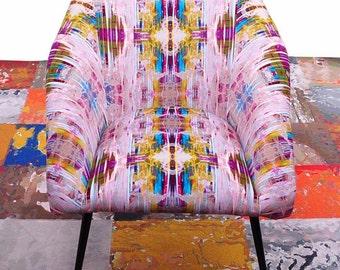 full restored unique velvet vintage armchair chance