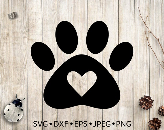 paw svg paw print svg dog paw clipart paw print with heart clip rh etsystudio com Dog Paw Print Graphics From a Dog Paw Prints