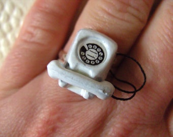White, Retro Phone, white with black, miniature, fun, ring, by NewellsJewels on etsy