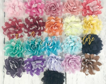 "3"", Shimmer Chiffon Flowers, Fabric Flowers, Metallic Flowers, DIY Headband Supplies, DIY Hair Accessories, Chiffon Flowers, Wholesale, 1PC"
