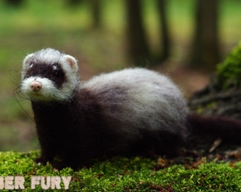 Ferret ,needle felted ferret,OOAK figurine,art sculpture,animal sculpture