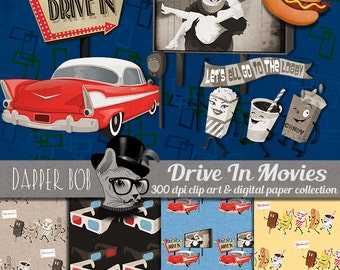 Let's All Go the Movies Drive In Clip Art and Digital Paper Collection for Scrapbooking and Paper Craft
