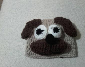 Crochet pug hat, baby pug hat, newborn pug hat, pug hat,  ready to ship