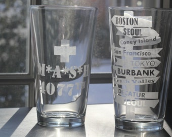 M*A*S*H 4077th Etched Pint Glasses Set of 2