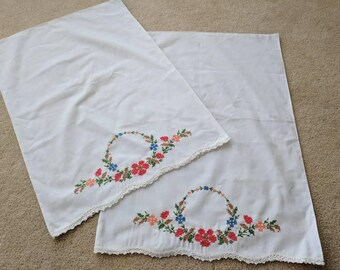 Vintage Pillowcases with Cross Stitch Design