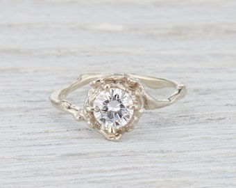 Moissanite Engagement Ring. Nature Ring. 6mm Forever One Moissanite. Large Naples Solitaire. Yellow Gold, White Gold, Rose Gold or Platinum