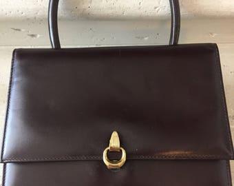Lesco Lona ~ Dark Brown Leather with Gold Detail Closure Top Handle Handbag