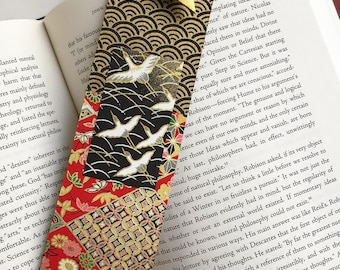Gold Crane Bookmark (on black)